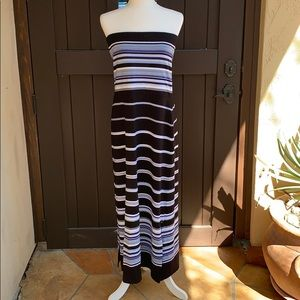 Striped maxi dress that doubles as a skirt.